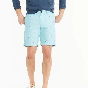 J. Crew Chambray Flamingo Shorts Size 40